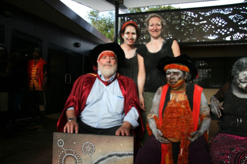 The MQ crew with the painting given to Laklak from Kerrie Kenton - Stuart